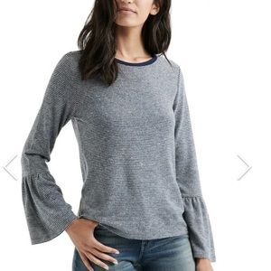 Lucky Brand Bell Sleeve Hacci Top Stripe Large